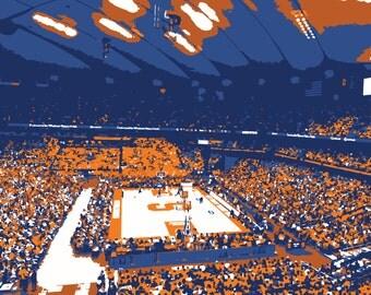 Syracuse University Carrier Dome Basketball Arena Print, Orange, Man Cave, Father's Day, Graduation, Groomsman, Basketball Wall Art