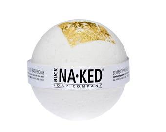 Gold Rush Bath Bomb - 22k gold, black salt, fizz, fizzy, gold leaf, bath, amber, vanilla, white, gold, tub, natural, vegan