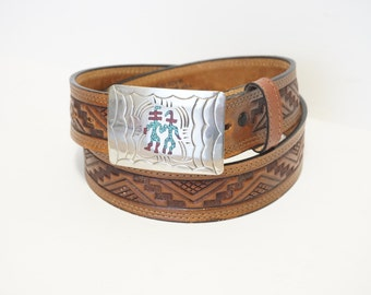 Vintage Southwestern Brown Tooled Belt- Turquoise/Coral Inlay- Men's Size 34/85