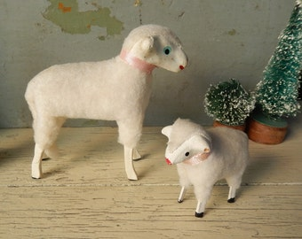 "Two Vintage Woolly Stick Leg Sheep ~ One Large 4"" x 4"" And One Small 2 1/4"" x 2.5"" Wooly Animal Figures (4)"