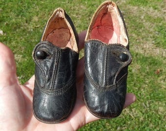Antique Black Leather Baby Shoes ~ Victorian or Edwardian ~ St. Louis ~ Perfect For Large Dolls