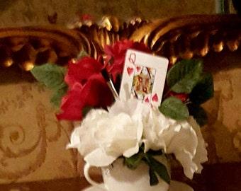 Alice in wonderland Tea cup floral arrangement/set of 2