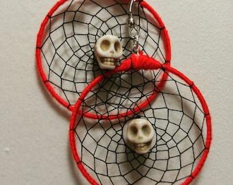 Red and Black Skull Dreamcatcher Earrings