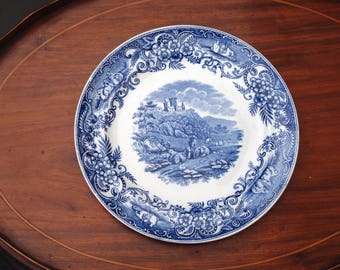 Antique Flow Blue Plate Pastoral Pattern George Jones & Sons