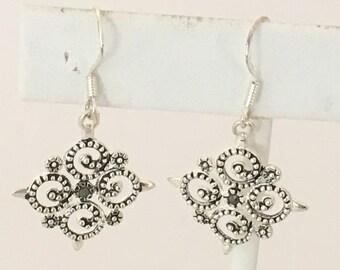 Marsala Filigree Dangle Earrings 925 Sterling Silver  gw17-104