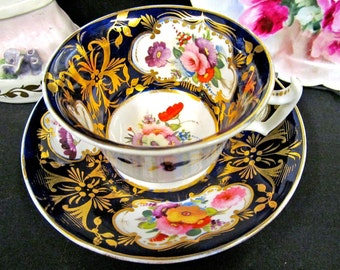 Antique DAVENPORT c.1820'S tea cup and saucer cobalt blue floral and painted teacup