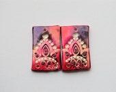 Indian Motive Polymer Clay Rectangle beads,  Earring Bead,Artisan Beads,Handmade,Purple Pink