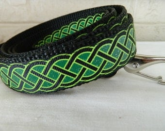 St Patrick's Day Black and Emerald Celtic Knot Dog Leash