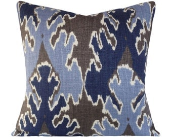 Kelly Wearstler Blue Gray Bengal Bazaar Decorative Pillow Cover - Lee Jofa Groundworks - Throw Pillow - Solid Back - ALL SIZES AVAILABLE