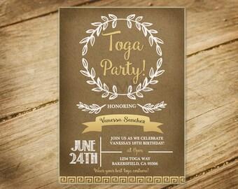 Toga Party / Greek / Gold / Laurel / Natural / Invitation