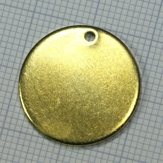20 mm Circle tag 10 pcs 1.5 mm thickness Raw Brass 1 hole Charms ,Findings 61R-385