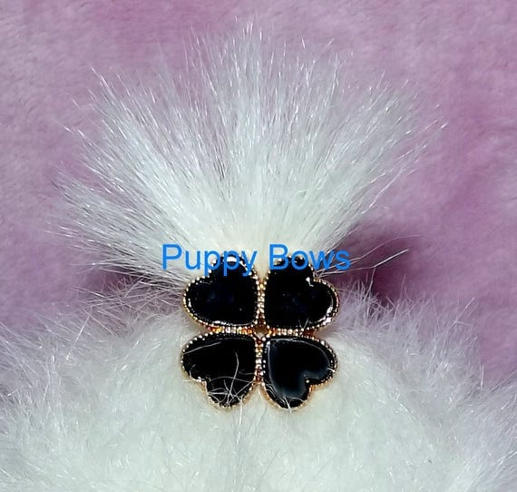 Puppy Bows ~BOYS SUPER TINY black or blue hearts clover dog bow  pet hair clip barrette