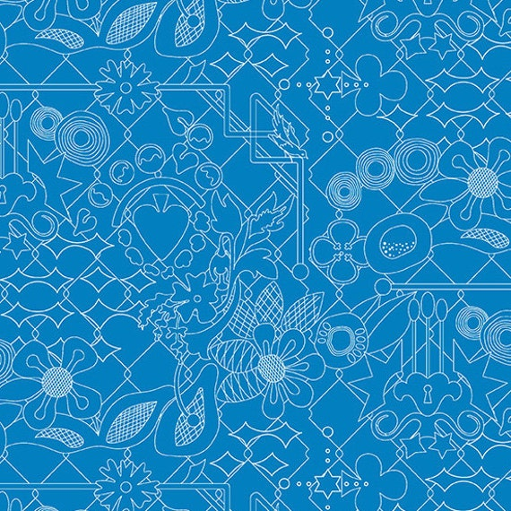 OVERGROWN Bluebonnet Sunprint 2017 A-8482-T Blue Teal by Alison Glass Sold in 1/2 yd increments
