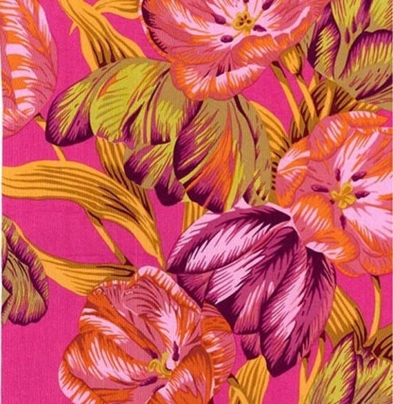 TULIP EXTRAVAGANZA PINK pwpj089 Philip Jacobs for Kaffe Fassett Collective Sold in 1/2 yd increments