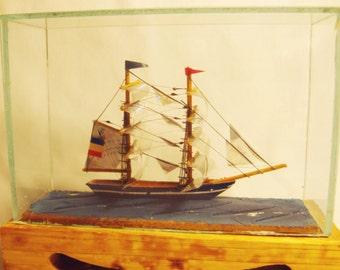 Miniature Sailing Ship Model Vintage Asian Craft inv1729