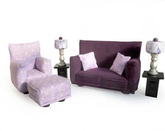 Barbie Doll Living Room Furniture 9-PC Play Set-1:6 scale-Purple Flower print - works also with Blythe and any 11 inch fashion doll