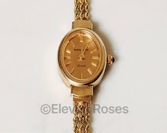 Vintage 14k 585 Solid Yellow Gold Geneve Quartz Chain Watch