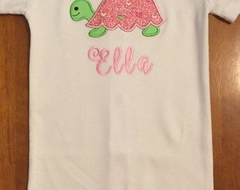 Pink and Green Girl Sea Turtle Shirt or Baby Bodysuit