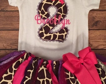 Pink and Purple Giraffe Birthday Tutu Outfit