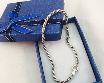 Vintage Sterling Silver Twisted Rope Chain Bracelet - 7.5 Inches - 4.6 Grams