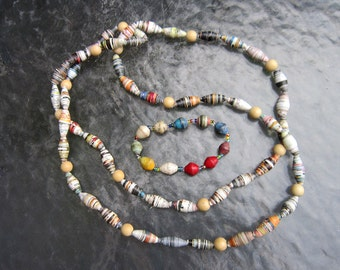 Hand made recycled paper beads necklace and bracelet - estate jewelry