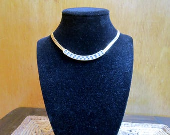 Classic elegant sapphire blue and clear Swarovski rhinestone choker necklace