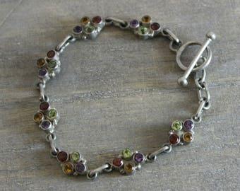 Multi Gem bracelet  -Sterling Silver Bracelet - Vintage Bracelet - Gifts under  30 - Estate Jewellery - January Birthstone Jewelry