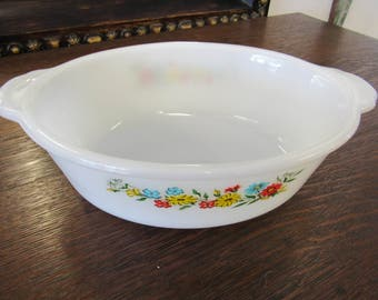 Floral Fire King Casserole Dish