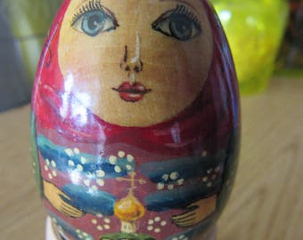 Hand Painted Russian Easter Egg and Stand
