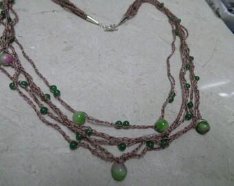 Crochet Necklace, Jade Necklace, Green Necklace, Tan Necklace, Multi Strand Necklace