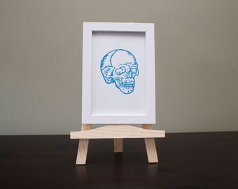 Blue Skull Hand Painted on Glass