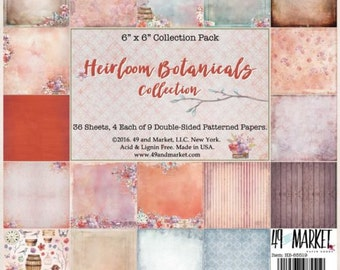 49 and Market HEIRLOOM BOTANICALS 6x6 Paper Pack, 36 sheets Double Sided 100 lb Cardstock Cardmaking HB-85519
