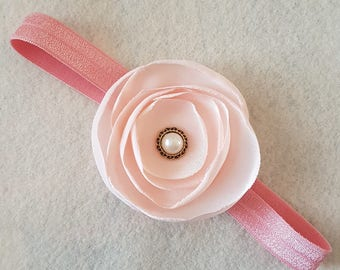 Vintage inspired Blush pink satin flower baby headband, pearl center, photography  prop, infant, newborn, rose