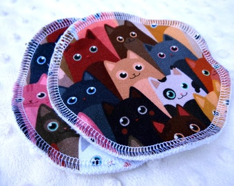 "Large reusable breast pads - cats jersey fabric - large size 5"" - washable and reusable"