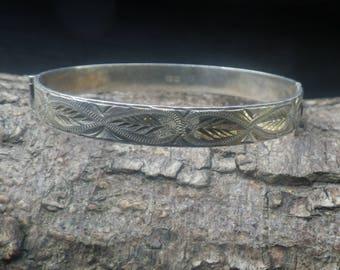 Vintage Sterling Silver Cuff Bangle Bracelet