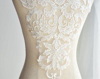 1pc Super Luxury Lace Appliques Ivory Palace Exquisite Lace Applique For Wedding Dress Grown Bridal Veil Bodice