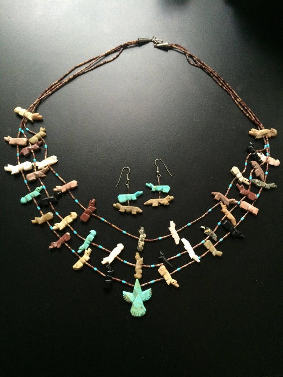 Vintage Handcrafted Navajo Fetish Necklace Set, Native American Fetish Necklace & Earrings Set, Southwest  Turquoise and Fetish Jewelry .