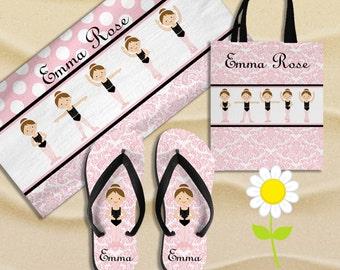 Personalized Ballerina Beach Towel, Beach Bag & Flip Flops - Custom Ballet Beach or Swim Set w/ Towel, Tote, Flip Flops - Girl Birthday Gift