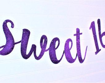 SWEET 16 BIRTHDAY Party Banner - Sweet 16 Birthday Party Decoration - 16th Birthday Garland - 16th Birthday Party Banner - Happy Sweet 16 G7
