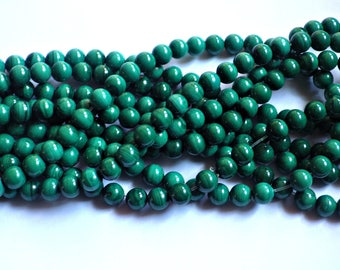 8mm Malachite Round Beads - B Grade