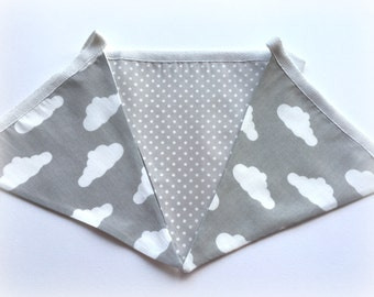 Fabric Bunting Light Grey Cloud Nursery Bedroom Wall Flag Hanging  Handmade