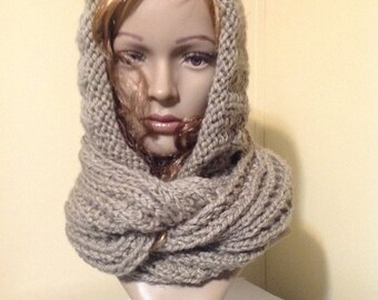 Hooded Ribbed Cowl - Knitting pattern