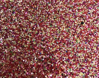 Chunky Red Rainbow Glitter Fabric 0.7mm Thickness 8x11 Sheet Chunky Red Glitter A4 Sheets