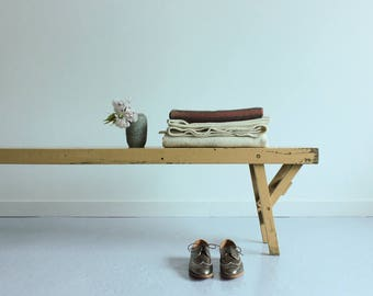 Vintage Cream Wooden Rustic Folding School Bench