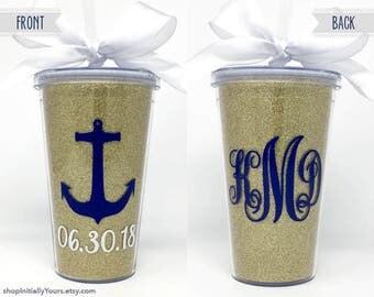 Custom Monogram Glitter Tumbler, Personalized Cup with Straw, Monogram Cup, Customized Tumbler with Straw, Anchor Tumbler, Beach Tumbler