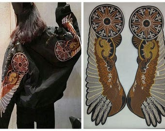 one pair large embroidered wings patch vintage fashion applique Jacket or coat decoration patch