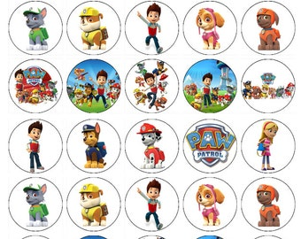Paw Patrol wafer paper edible cake toppers birthday decorations x 30