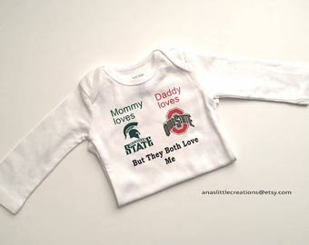 Custom House Divided Bodysuit (Ohio State Buckeyes - MSU, House Divided Baby, Mommy loves the MSU, Daddy loves the OSU But They Both Love Me