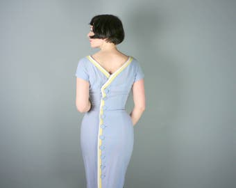 PASTEL blue 50s BUTTON back dress with white and yellow piping - WIGGLE hourglass fit - mid century secretary dress - s-m