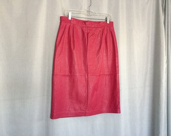Pink Leather Skirt Vintage Pencil Skirt Women's size 14 or Large